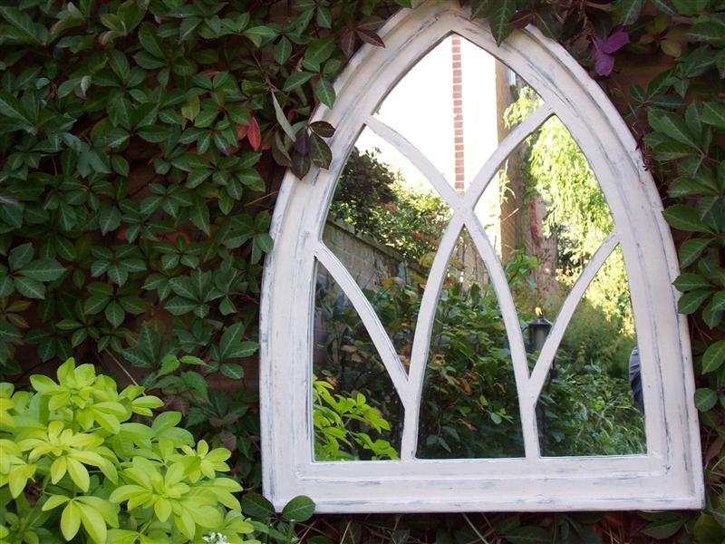 Gothic Arch Garden Mirror – Off White Shabby Chic | Garden Mirrors For Gothic Garden Mirrors (#23 of 30)