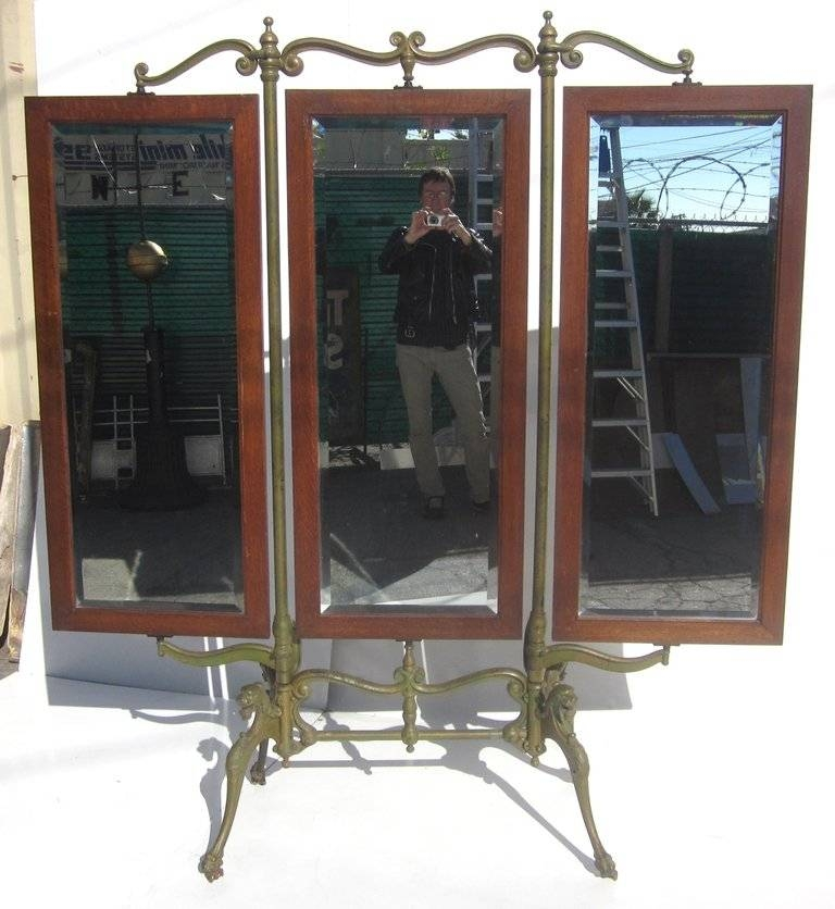 Gothic Iron And Oak Three Panel Standing Dressing Mirror For Sale For Standing Dressing Mirrors (#26 of 30)