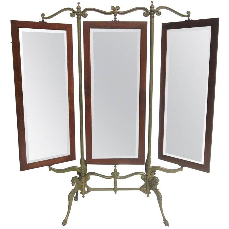 Gothic Iron And Oak Three Panel Standing Dressing Mirror For Sale With Standing Dressing Mirrors (#28 of 30)