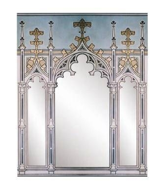 Gothic Revival Style Painted & Gilded Triple Tryptych Mirror Frame Within Gothic Style Mirrors (View 6 of 20)