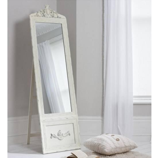 Gracie Cheval Floor Standing Vintage Mirror In Cream 27167 Regarding Cream Standing Mirrors (#17 of 20)