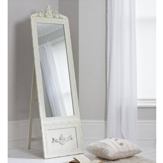 Inspiration about Gracie Cheval Floor Standing Vintage Mirror In Cream 27167 With Cream Free Standing Mirrors (#10 of 20)