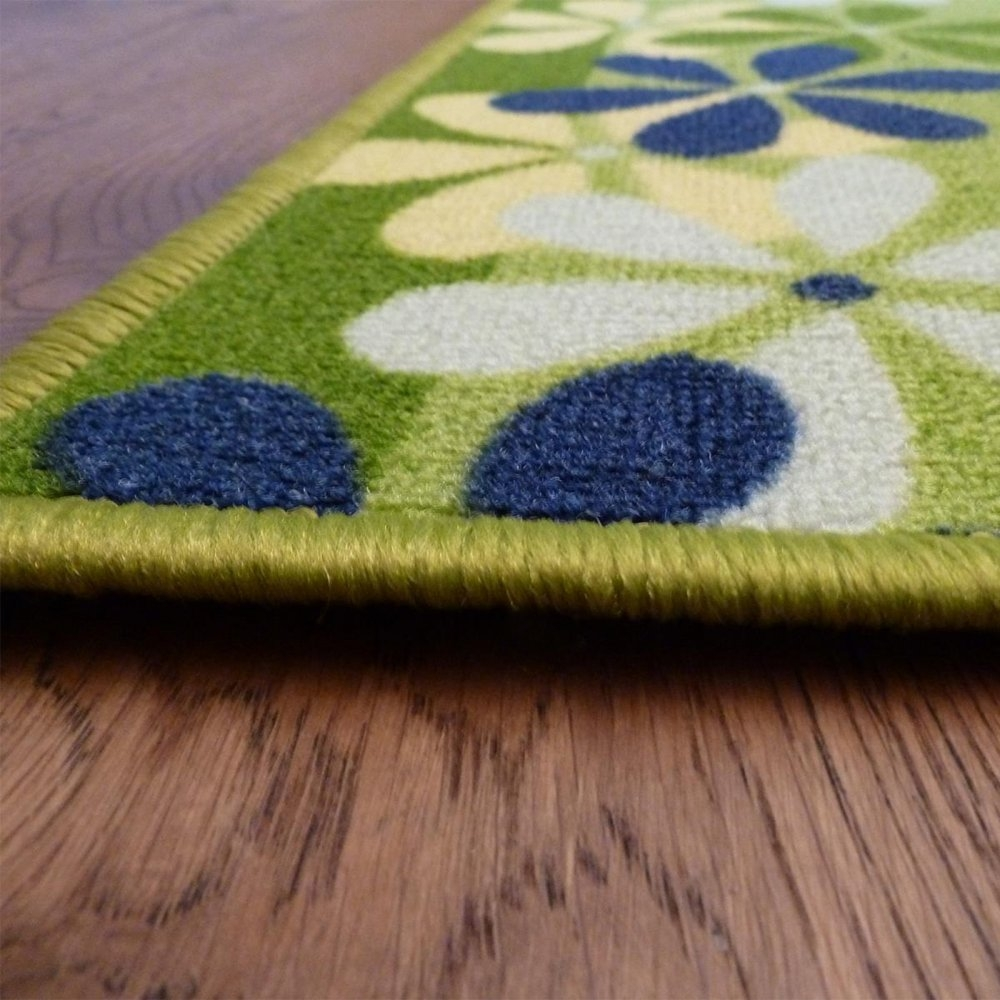 Green Hallway Carpet Runner Margerite Pertaining To Non Slip Hallway Runners (View 5 of 20)