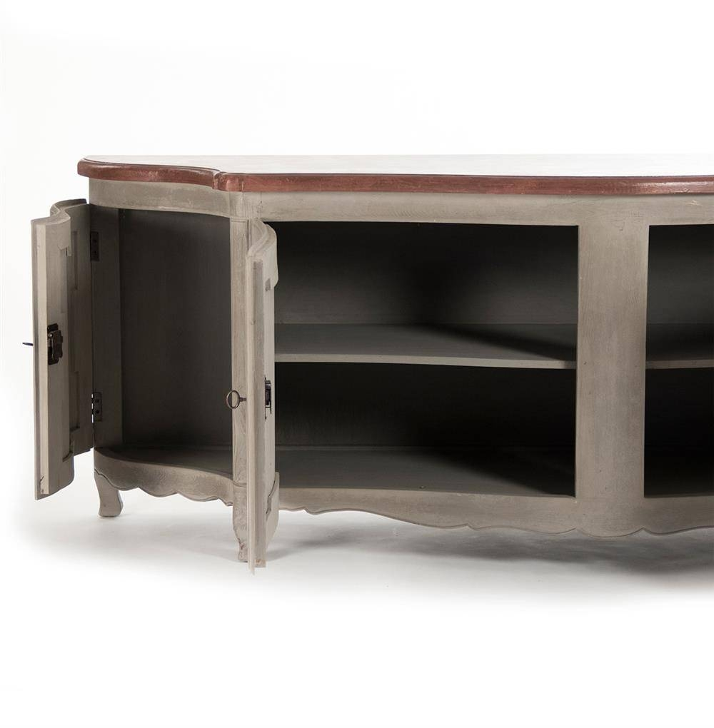 Grenelle French Country Style Antique Grey Long Sideboard Chest Pertaining To French Style Sideboards (View 8 of 20)
