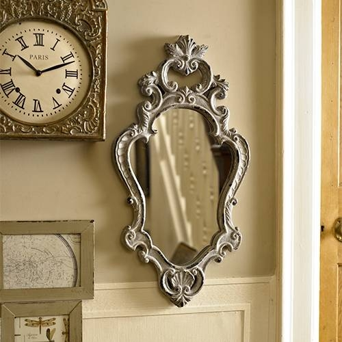 Grey Wood Ornate Wall Mirror Shabby French Chic Bedroom Vintage Inside French Chic Mirrors (View 26 of 30)