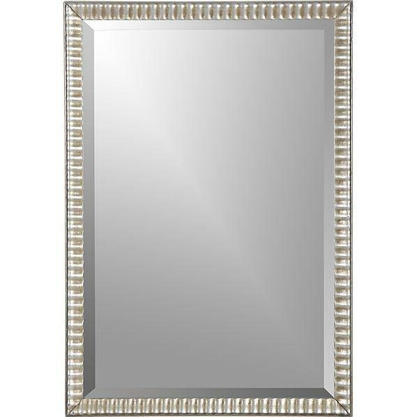 Grooved Silver Framed Wall Mirror Intended For Silver Rectangular Bathroom Mirrors (#10 of 20)
