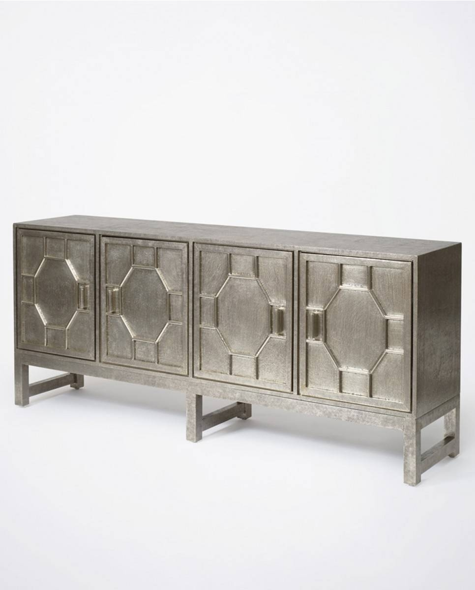 Hammered White Metal Sideboard | Luxe Furniture | Bowerbird Home Throughout Metal Sideboards Furniture (#13 of 20)