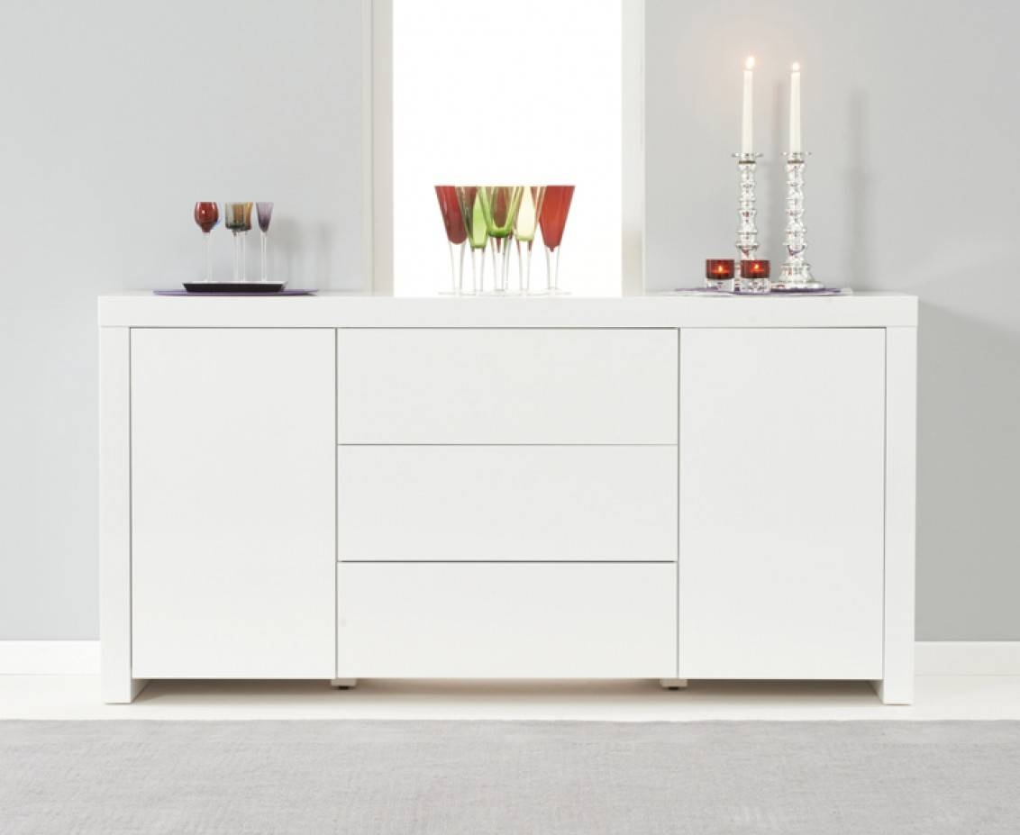 Hampstead 2 Door 3 Drawer White High Gloss Sideboard | The Great With Regard To Gloss White Sideboard (#9 of 20)