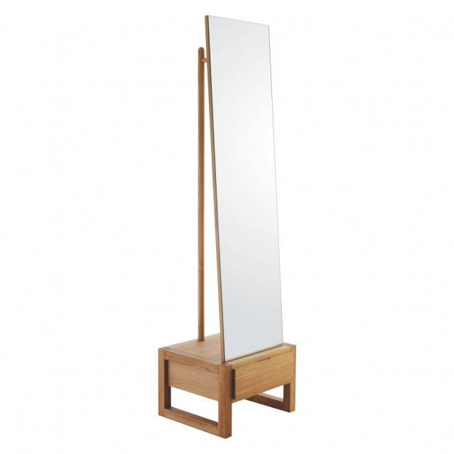 Hana Ii Freestanding Mirror With Storage | Qualita Intended For Free Standing Oak Mirrors (#10 of 15)