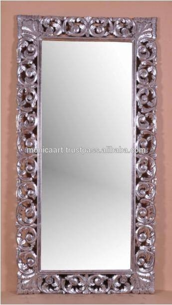 Hand Carved Silver Baroque Mirror Frame – Buy Silver Foil Finish Pertaining To Silver Baroque Mirrors (#11 of 30)