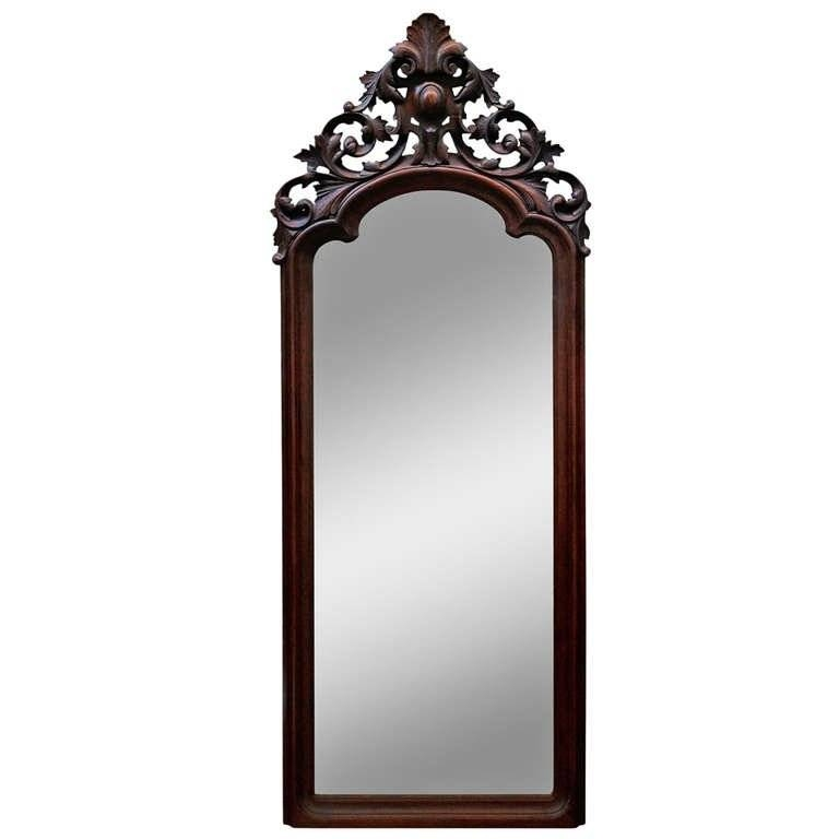 Hand Carved Victorian Full Length Patina Mirror At 1Stdibs With Victorian Full Length Mirrors (#16 of 20)