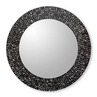 Hand Crafted Black Glass Mosaic Round Wall Mirror – Round Black Throughout Round Mosaic Mirrors (#20 of 30)