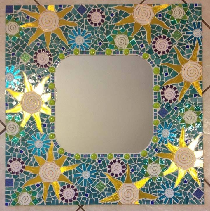 Hand Crafted Mosaic Mirror Aqua Large Handmade Stained Glass In Large Mosaic Mirrors (#11 of 30)