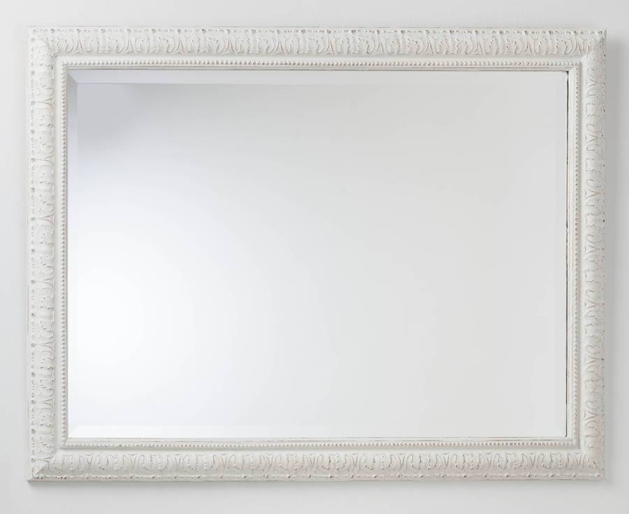 Hand Painted Beaded White And Cream Mirrorhand Crafted Mirrors For Cream Mirrors (#22 of 30)