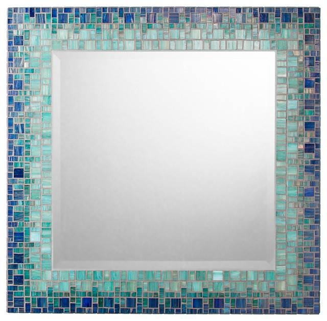 Handmade Mosaic Sea Mirror, Deep Teal And Blue – Contemporary Pertaining To Mosaic Wall Mirrors (#10 of 20)