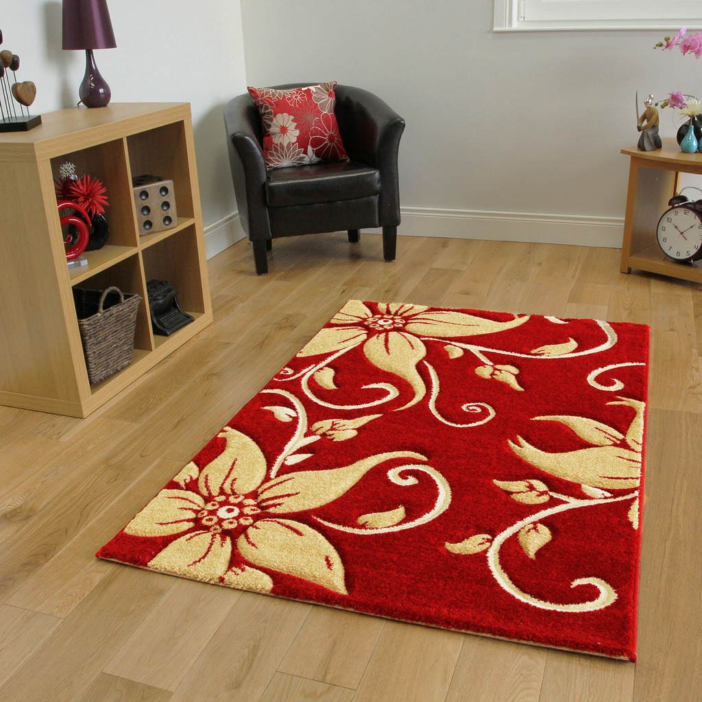 Havana Bright Floral Soft Long Hall Runners Red Beige Carved Thick For Hallway Runners Floral (#10 of 20)