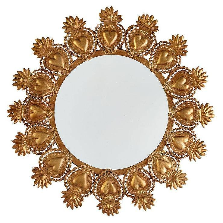Heart Gold Mirror For Gold Heart Mirrors (#17 of 30)