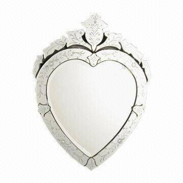 Heart Shaped Venetain Wall Mirror With Etched Pattern, Smoothly Intended For Heart Shaped Mirrors For Wall (#13 of 20)