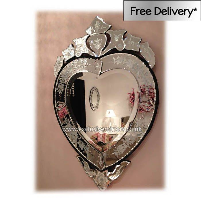 Heart' Small Venetian Wall Mirror 77 X 48Cm Heart Shaped Venetian Regarding Venetian Heart Mirrors (#18 of 20)