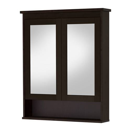 Hemnes Mirror Cabinet With 2 Doors – Black Brown Stain, 32 5/8X6 1 Throughout Black Cabinet Mirrors (#26 of 30)