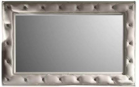 Hien White Leather Tufted Mirror Fame – Transitional – Wall Pertaining To Wall Leather Mirrors (#11 of 30)