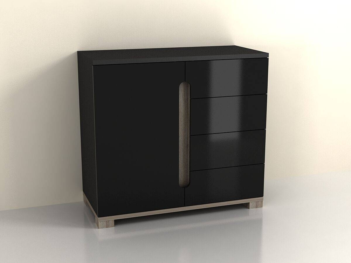 High Gloss Black Sideboard Drawer Narrow Cabinet Unit Small Throughout Sideboard Black Gloss (#13 of 20)