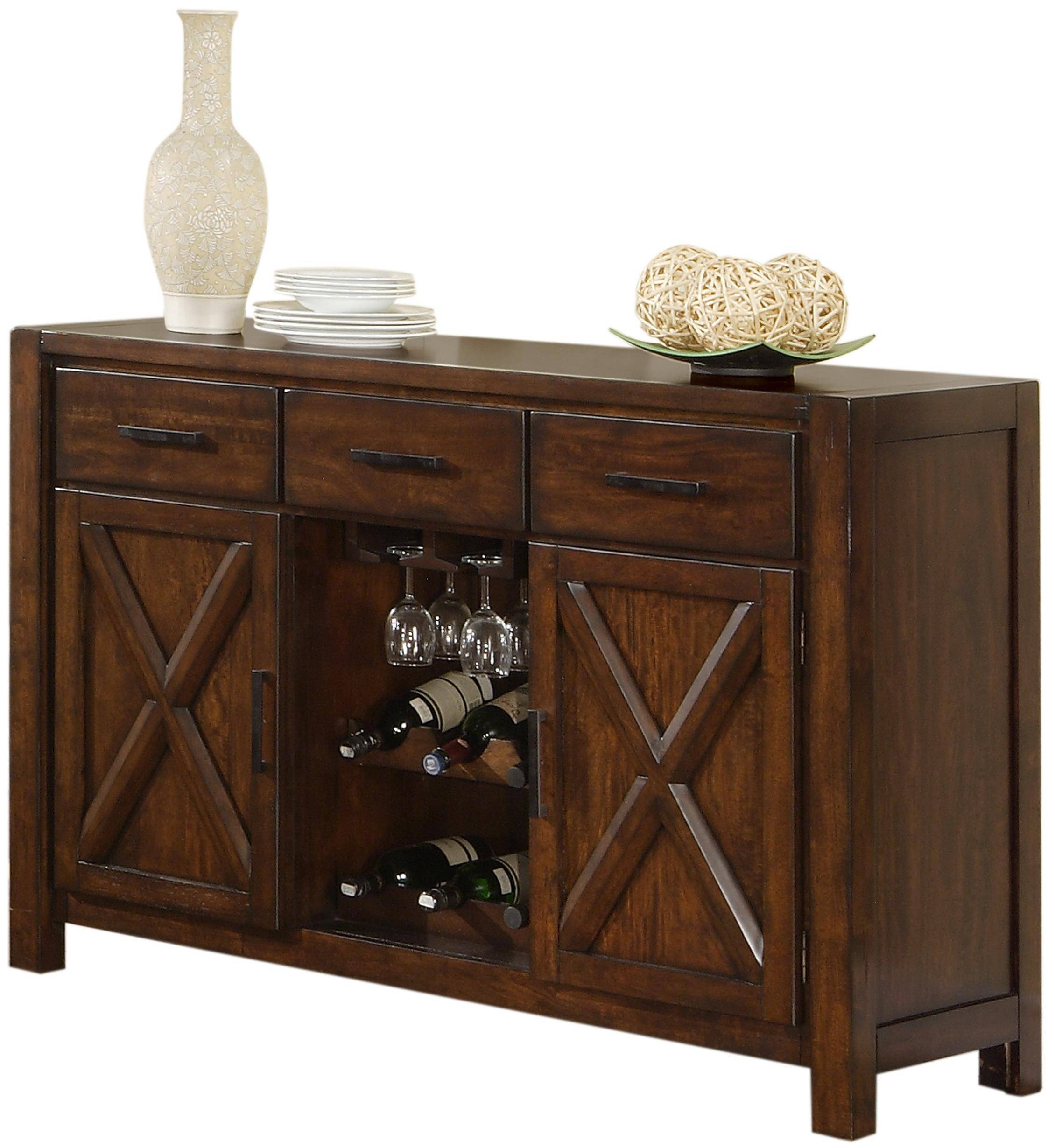 Holland House Lakeshore Dining Sideboard W/ Wine Rack And Stem Intended For Sideboards With Wine Racks (#3 of 20)