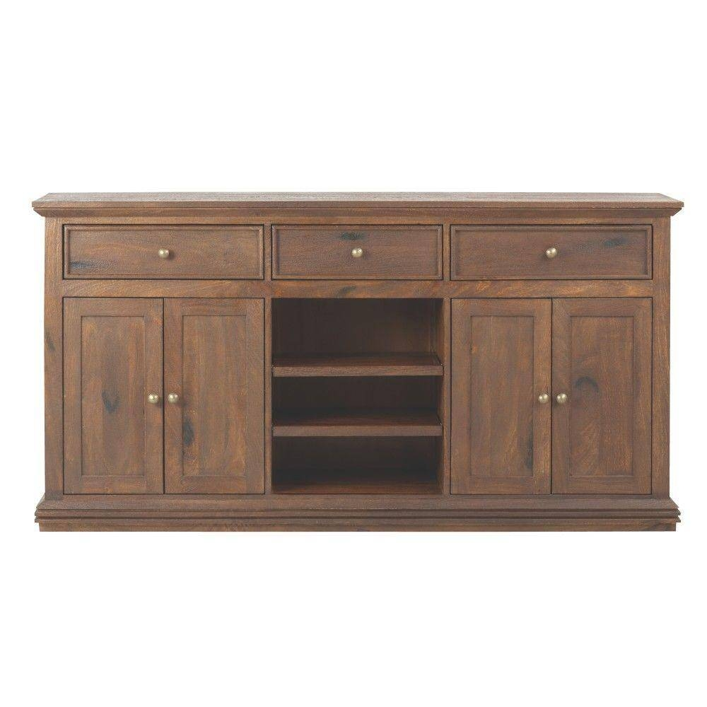 Home Decorators Collection Aldridge Antique Walnut Buffet Throughout Grey Wood Sideboard (#7 of 20)