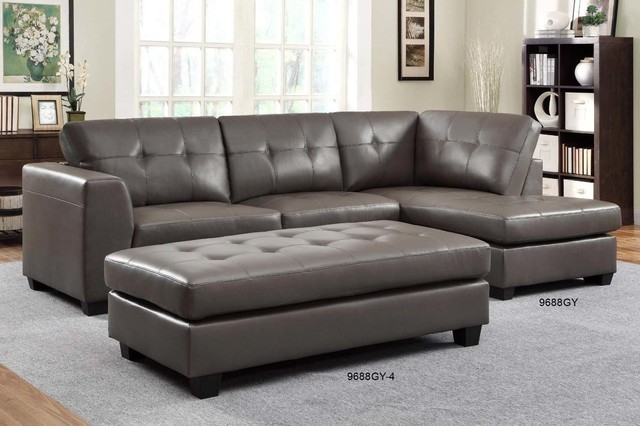 Popular Photo of Gray Leather Sectional Sofas