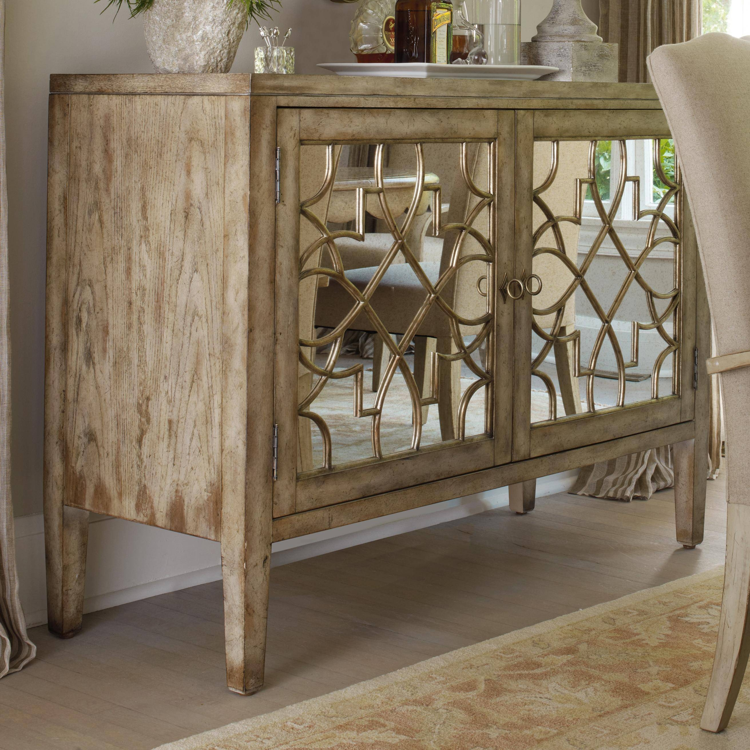 Hooker Furniture Sanctuary Two Door Mirrored Console – Belfort In Mirrored Sideboard Furniture (View 14 of 20)