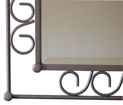 Hoop Beveled Ii Wrought Iron Mirror With Rod Iron Mirrors (#10 of 15)