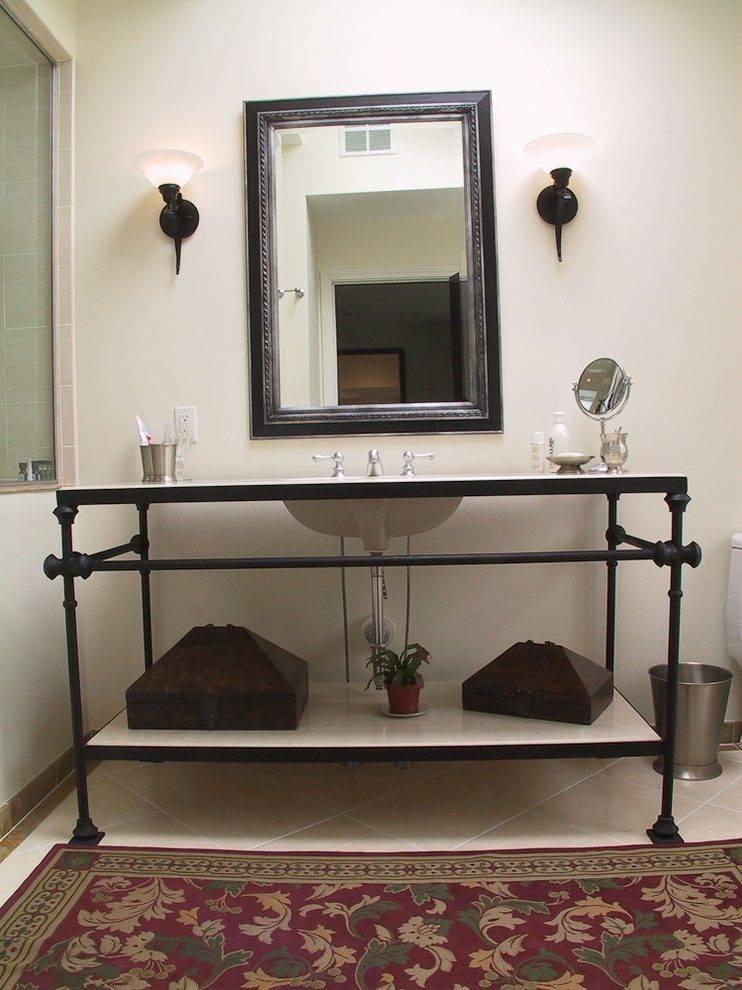 Houston Wrought Iron Vanity Powder Room Mediterranean With White In Wrought Iron Bathroom Mirrors (#20 of 30)