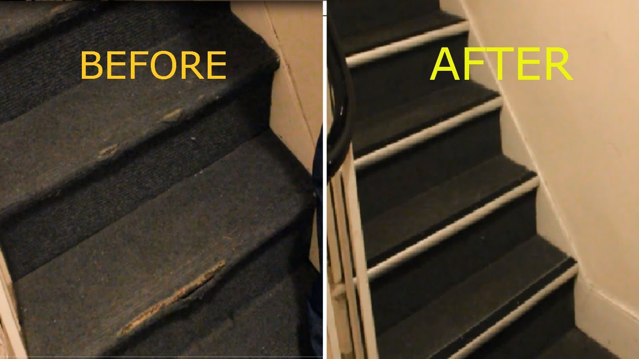 How To Repair Damaged Carpet On Stairs Nosing Strip Youtube For Carpet Strips For Stairs (#13 of 20)