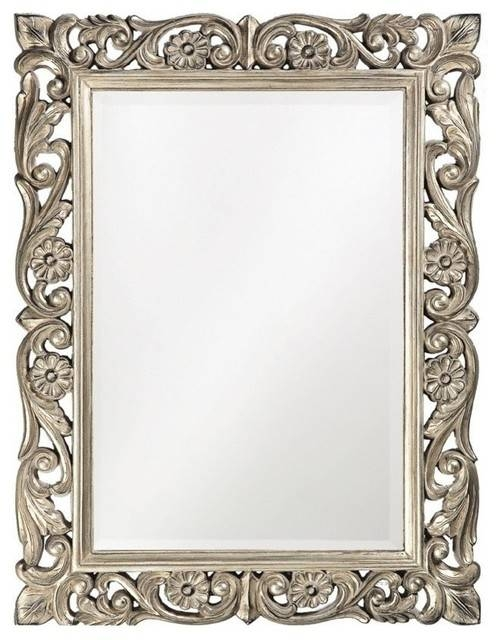 Howard Elliott 2113 Chateau Antique French Pewter Mirror Within Pewter Ornate Mirrors (View 22 of 30)