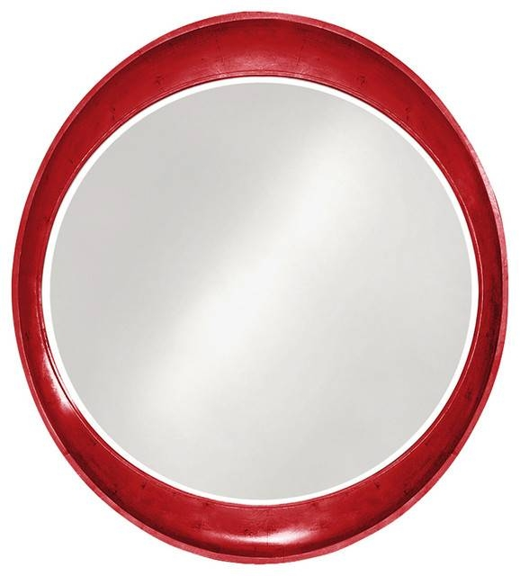 Howard Elliott Ellipse Leaf Round Mirror – Eclectic – Wall Mirrors Throughout Red Wall Mirrors (#14 of 30)