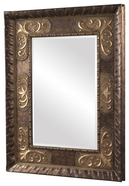 Howard Elliott Tate Deep Bronze Mirror With Antique Bronze Accents Regarding Bronze Wall Mirrors (#12 of 20)
