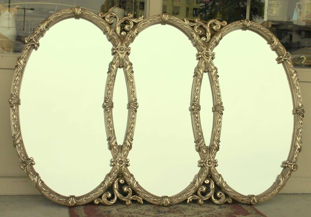Huge, Elegant Triple Oval Mirror In French Baroque Syroco Type Inside Triple Oval Mirrors (#8 of 20)