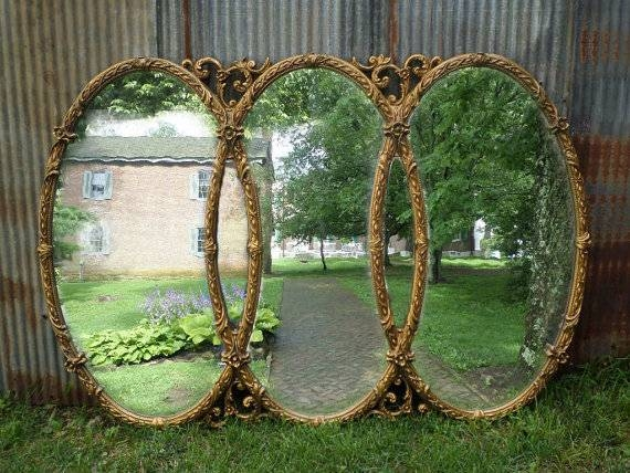 Huge Vintage Triple Mirror Room Size Mirror Gold Baroque For Triple Oval Mirrors (#7 of 20)