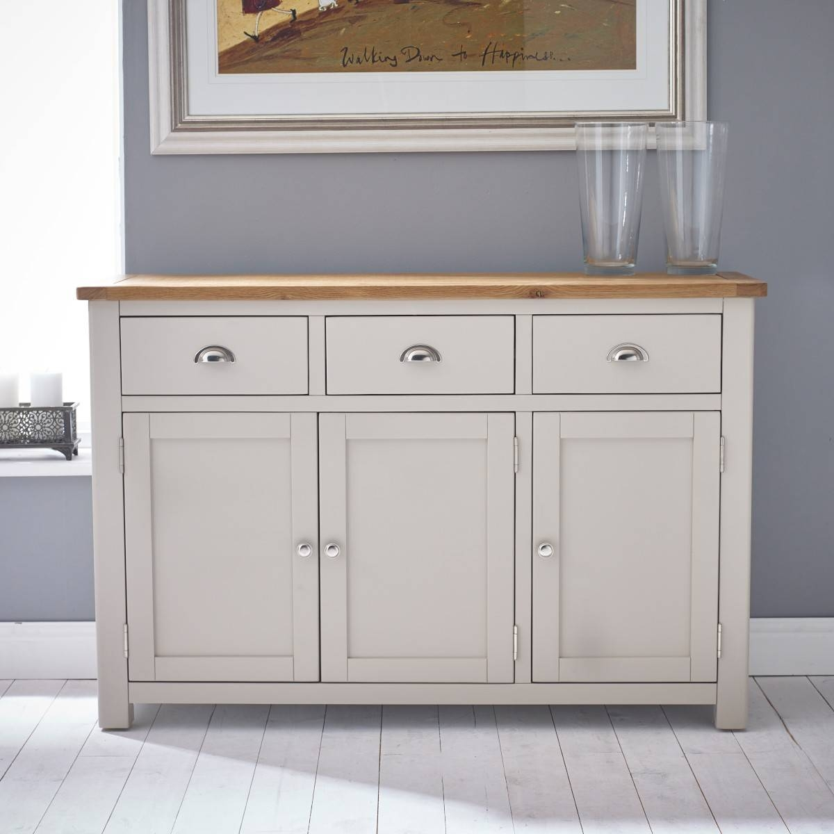 Hutch® – Portsmouth Stone Grey Painted Large Sideboard Regarding Grey Sideboard (#8 of 20)