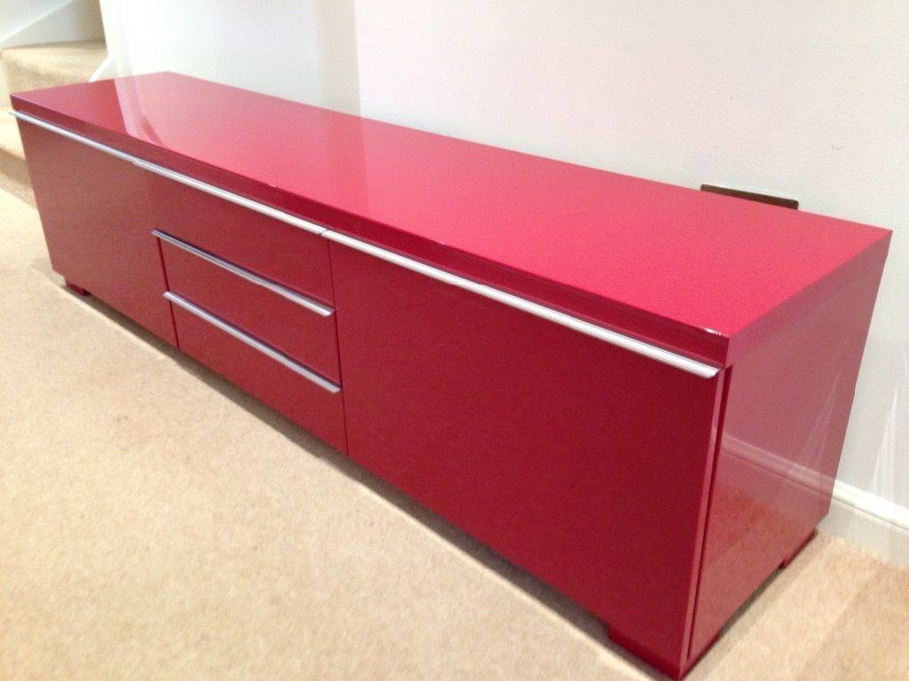 Ikea Besta Burs High Gloss Red Tv Unit | In Baillieston, Glasgow In Red High Gloss Sideboard (View 5 of 20)