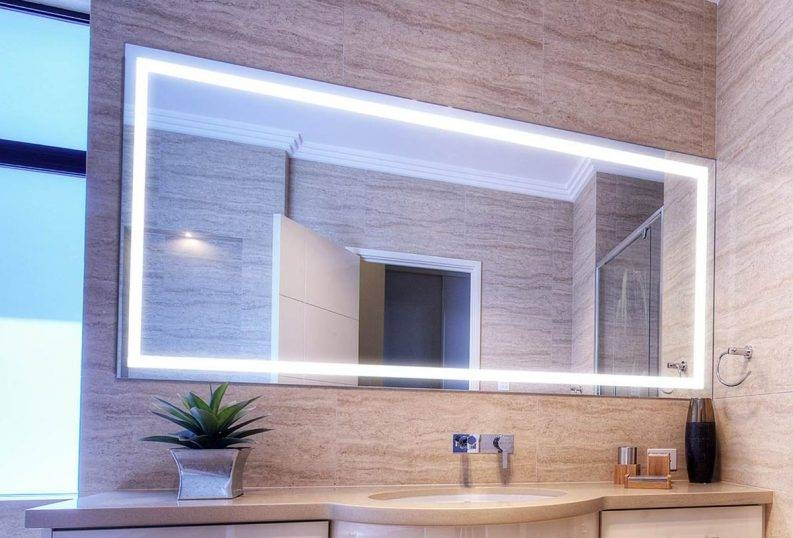 Illuminated Bathroom Mirrors Flush Mount Light Wall Mounted Clear With Regard To Large Illuminated Mirrors (#14 of 30)