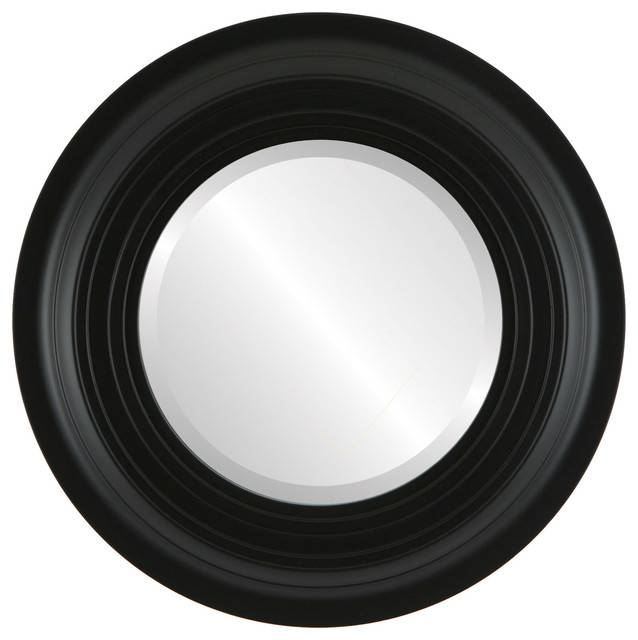 Imperial Framed Round Mirror In Matte Black – Traditional – Wall For Black Round Mirrors (#13 of 20)