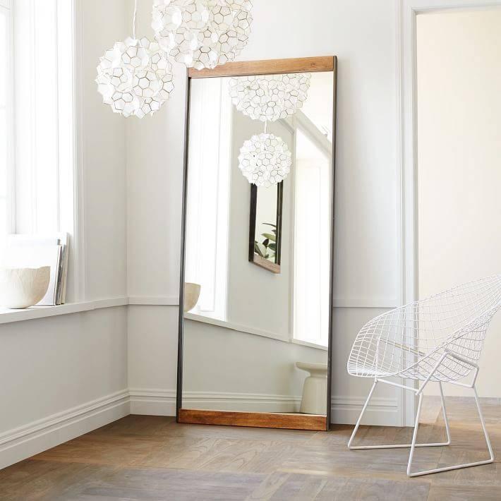 Industrial Metal + Wood Floor Mirror | West Elm Regarding Large White Floor Mirrors (View 26 of 30)