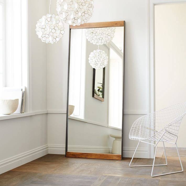 Industrial Metal + Wood Floor Mirror | West Elm Throughout Large Metal Mirrors (View 16 of 30)