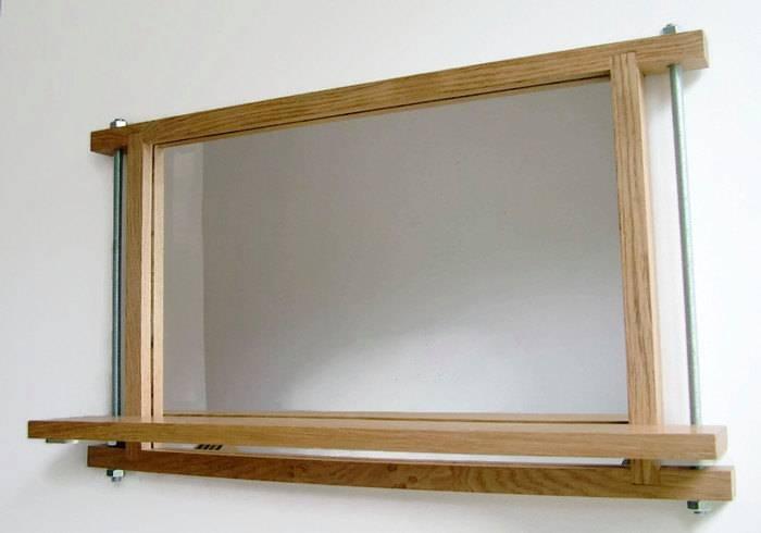 Industrial Mirror Shelf Mirror Oak Mirror Wall Mirror Wood Pertaining To Oak Wall Mirrors (#4 of 15)
