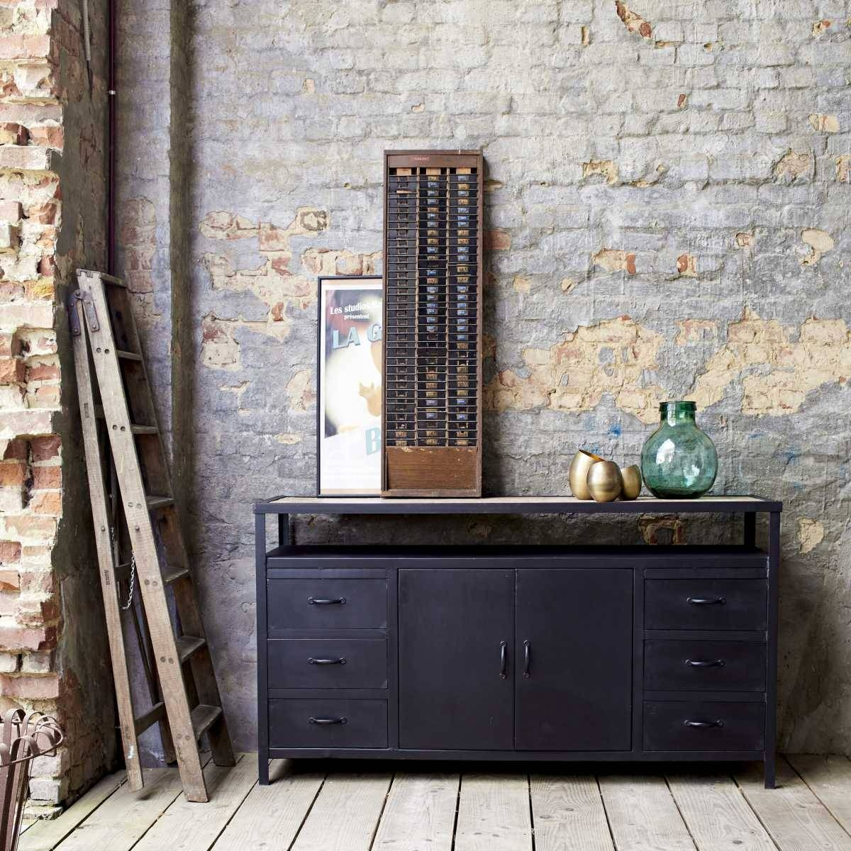 Industrial Style Metal Sideboards And Metallic Sideboards – Tikamoon Regarding Metal Sideboards (View 8 of 20)
