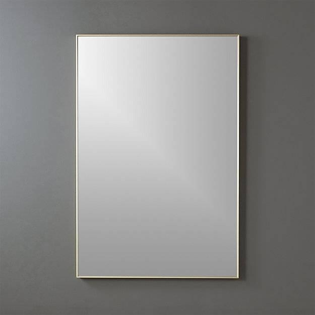 "Infinity Brass 24""x36"" Rectangular Wall Mirror | Cb2 With Brass Mirrors (#8 of 15)"