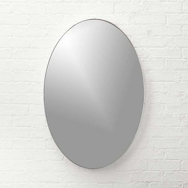 "Infinity Silver Oval Wall Mirror 24""x36"" 