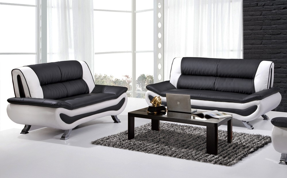 Install A White Leather Sofa And Enhance Your Living Room Elites Pertaining To White And Black Sofas (#13 of 15)