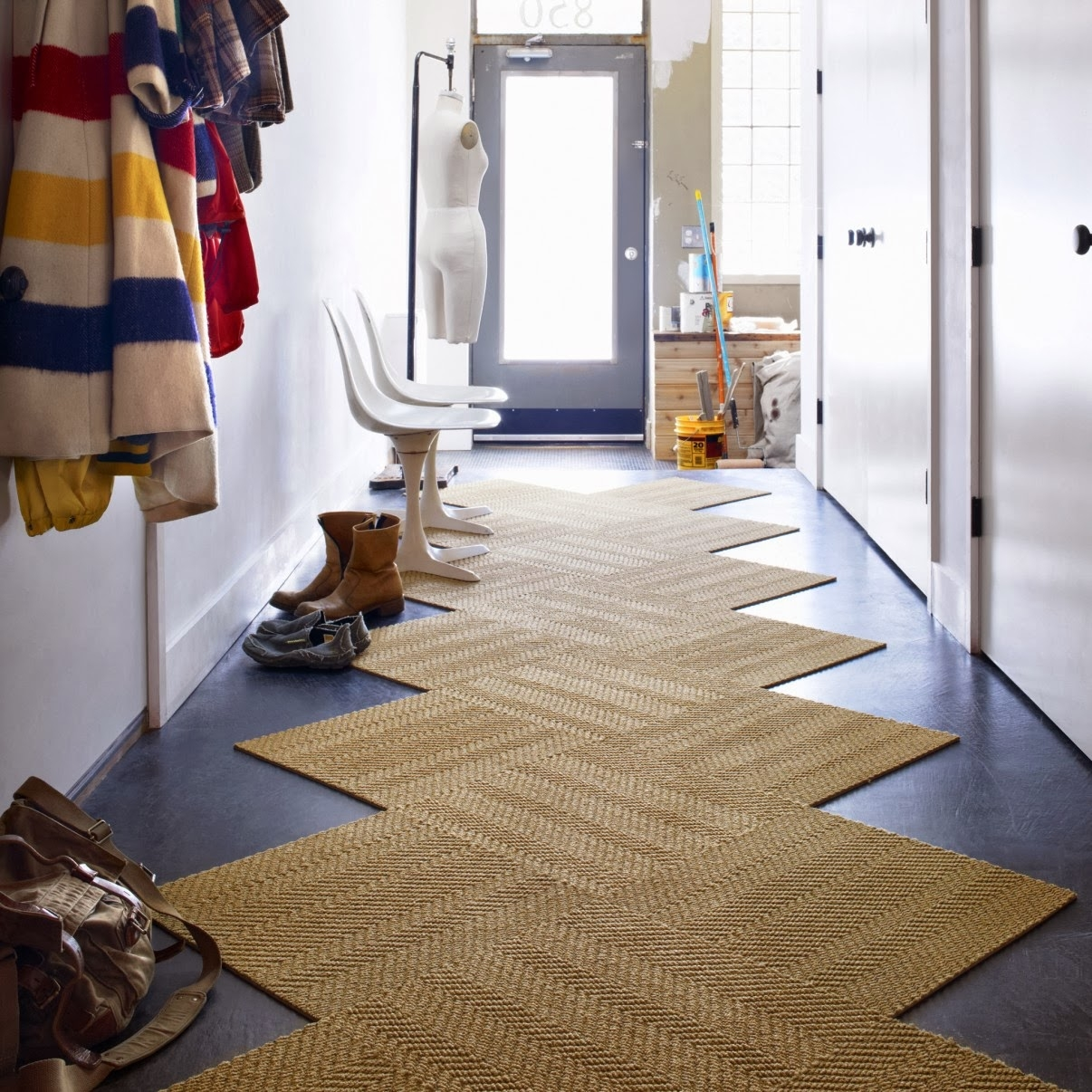 Interior Contemporary Diagonal Style Brown Hallway Carpet As Well Regarding Runners For Hallways Contemporary (#13 of 20)